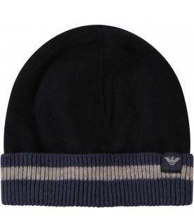ARMANI JUNIOR Blue hat with grey iconic eagle logo