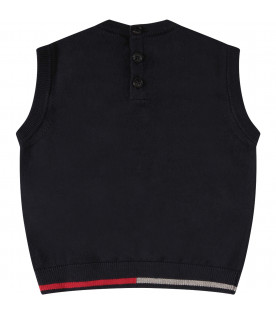 ARMANI JUNIOR Blue gilet with red iconic logo