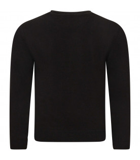 ARMANI JUNIOR   Black boy sweater with iconic logo