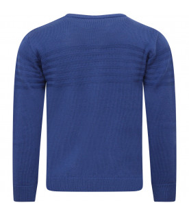 ARMANI JUNIOR   Royal blue boy sweater with iconic logo