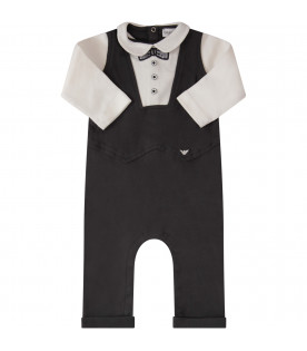 ARMANI JUNIOR   White and blue babygrow with blue and white embroidered bow-tie