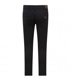 ARMANI JUNIOR   Blue boy trousers with metallic logo