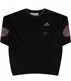 ARMANI JUNIOR Blue sweater with colorful henderkechief