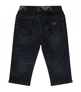 ARMANI JUNIOR   Blue jeans with metaic logo