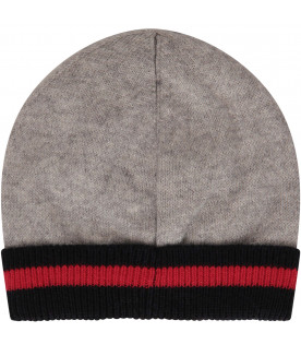ARMANI JUNIOR Grey hat with red iconic eagle logo