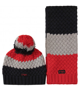 ARMANI JUNIOR Red, grey and blue set