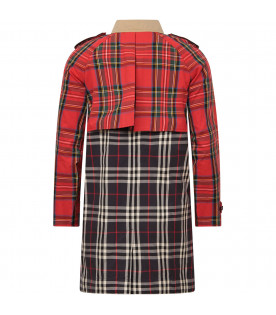 BURBERRY KIDS Multicolor coat with tartan and check