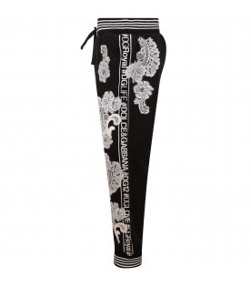 DOLCE & GABBANA KIDS Black girl sweatpant with white and ivory lace patches