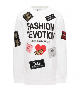 DOLCE & GABBANA KIDS White girl sweatshirt with colorful patches and black logo