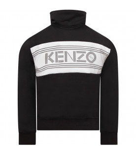 KENZO KIDS Black boy T-shirt with black logo