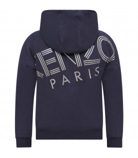 KENZO KIDS Blue girl sweatshirt with iridescent logo