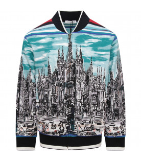 "DOLCE & GABBANA KIDS Light blue boy sweatshirt with ""Tour d'Italie"""
