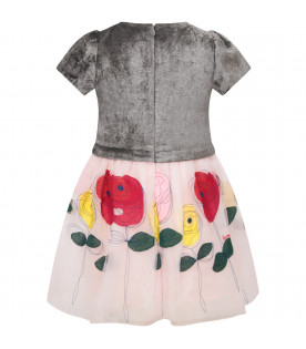 SIMONETTA Grey and pink girl dress with colorful flowers