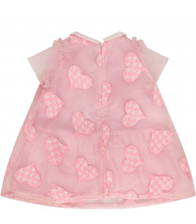 SIMONETTA Pink dress with colorful patches and pink logo