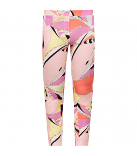 EMILIO PUCCI JUNIOR Pink girl leggings with colorful print