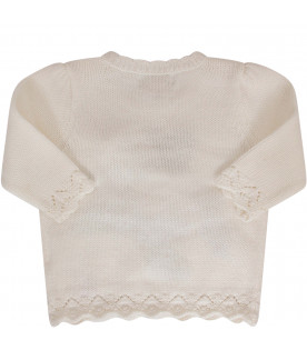 RALPH LAUREN KIDS Ivory sweatshirt with coloful iconic bear