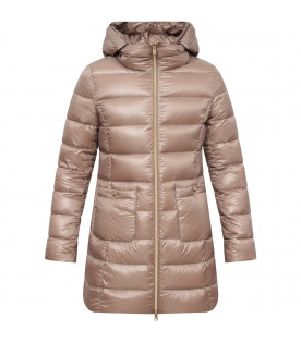HERNO KIDS Beige girl jacket with gold palte