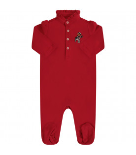 RALPH LAUREN KIDS Red babygrow with colorful iconic bear