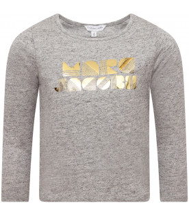 LITTLE MARC JACOBS Grey girl T-shirt with gold logo