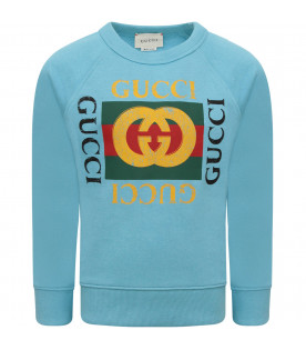 GUCCI KIDS Heavenly sweatshirt with colorful vintage logo