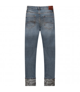 TOMMY  HILFIGER JUNIOR Light blue boy jeans with iconic flag