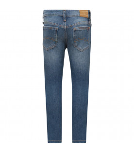 TOMMY  HILFIGER JUNIOR Light blue girl jeans with iconic flag