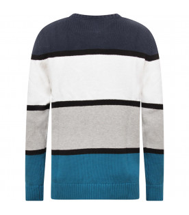 TOMMY HILFIGER JUNIOR Colorful striped boy sweater with logo