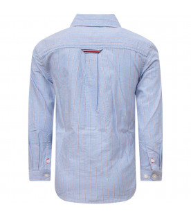 TOMMY  HILFIGER JUNIOR Light blue striped boy shirt