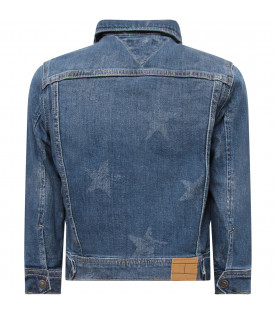 TOMMY  HILFIGER JUNIOR Blue girl cropped jacket with all-over stars