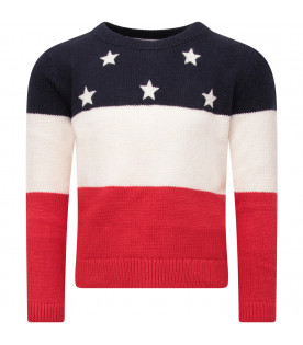 TOMMY HILFIGER JUNIOR Blue, ivory and red girl sweater with white stars