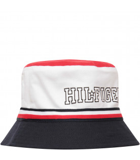 TOMMY  HILFIGER JUNIOR White blue and red sun hat