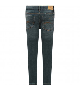 TOMMY  HILFIGER JUNIOR Blue boy jeans with iconic flag
