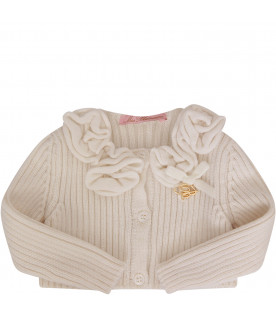 BLUMARINE BABY Ivory cardigan with flowers