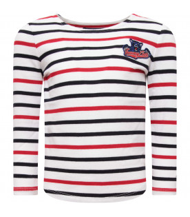 TOMMY  HILFIGER JUNIOR White boy t-shirt with stripes