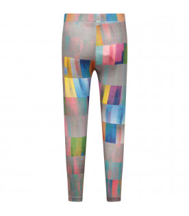 MUMOFSIX Grey girl leggings with colorful abstract shapes