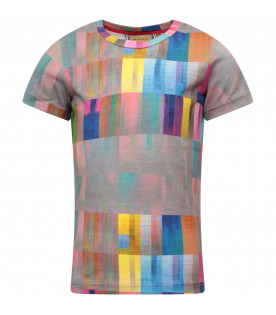 MUMOFSIX Grey T-shirt with colorful abstract shapes