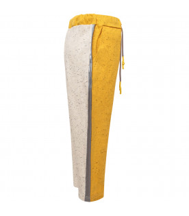 MUMOFSIX Yellow and grey sweatpant with silver side stripes