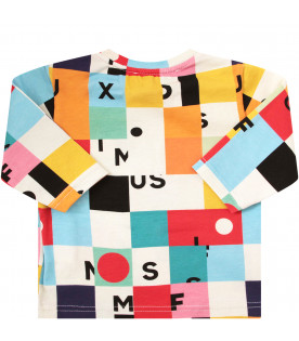 MUMOFSIX T-shirt multicolor con stampa colorata e logo nero