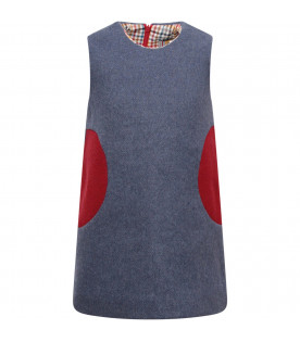 MUMOFSIX Light blue girl dress with red patches