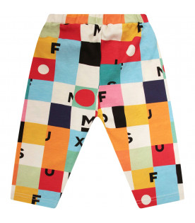 MUMOFSIX Leggings colorato con logo nero e stampa colorata