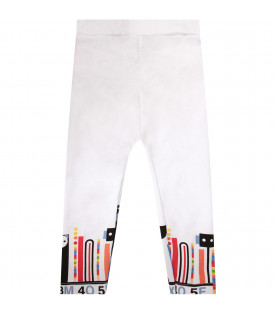MUMOFSIX Leggings bianco per bambina con stampe colorate