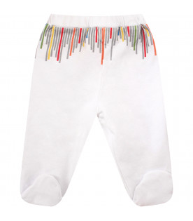 MUMOFSIX Leggings bianco con stampe colorate
