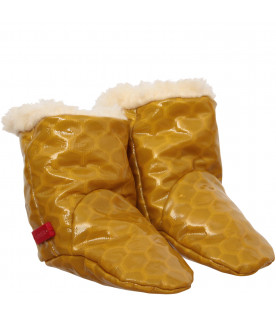 MUMOFSIX Yellow boots with red logo