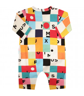 MUMOFSIX Colorful babygrow with black logo and colorful geometrical figures
