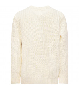 TOMMY HILFIGER JUNIOR Ivory boy sweater with iconic flag