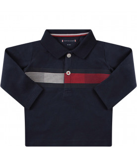 TOMMY  HILFIGER JUNIOR Blue polo shirt with flag