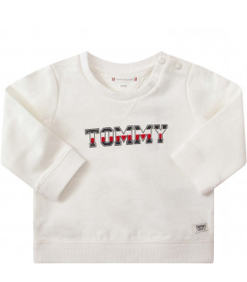 TOMMY  HILFIGER JUNIOR White sweatshirt with blue, white and red logo