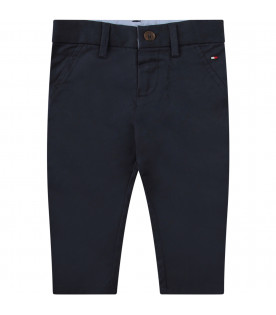 TOMMY  HILFIGER JUNIOR Blue pants with blue, white and red iconic flag