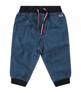 TOMMY  HILFIGER JUNIOR Light blue jeans with blue, white and red iconic flags