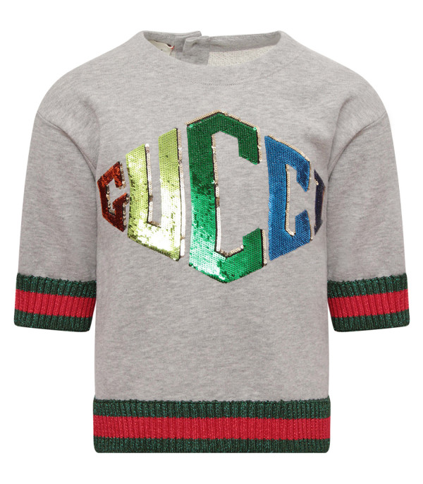 GUCCI KIDS Grey girl sweatshirt with colorful logo